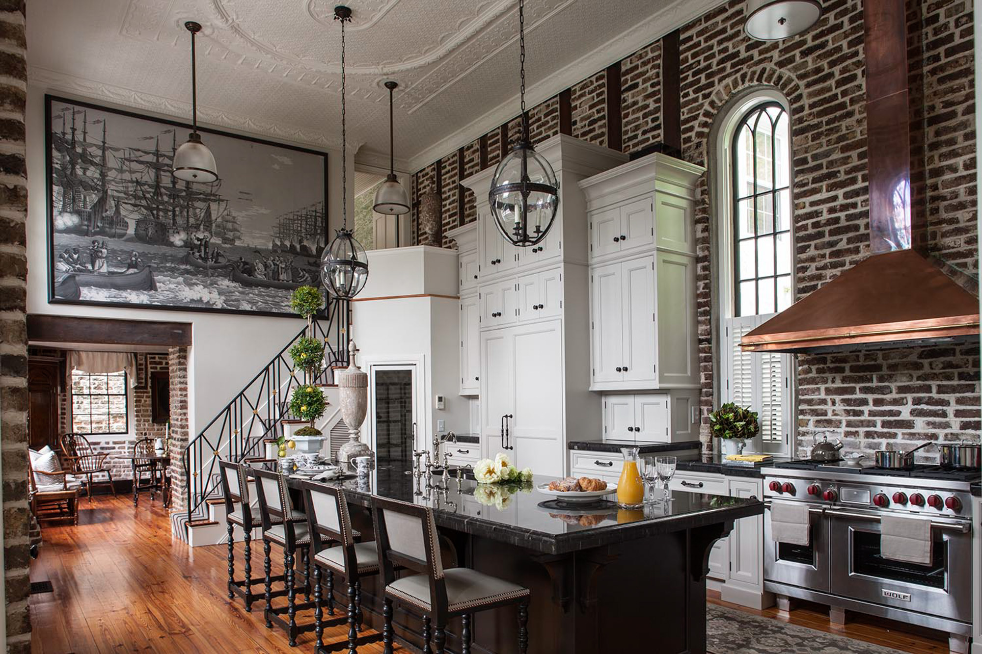 Charleston slc interiors for Kitchen bricks design
