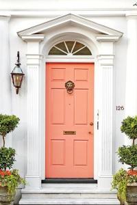"The perfect color to freshen-up your front door: Benjamin Moore ""Peachy Keen"""