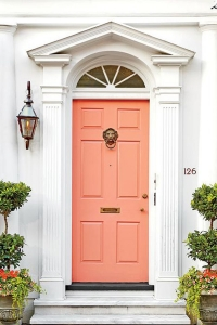 "The perfect color to freshen-up your front door: Benjamin Moore ""Peachy Keen"""