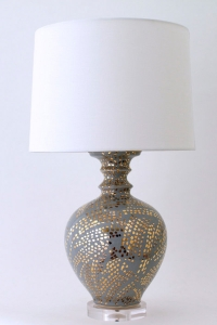 Handmade table lamp with 22k gold accents by Paul Schnider Ceramics