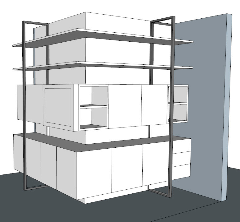computer model of custom cabinetry
