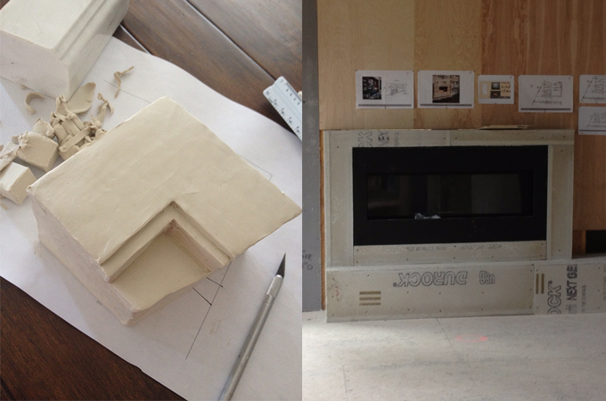 Clay model of fireplace surround