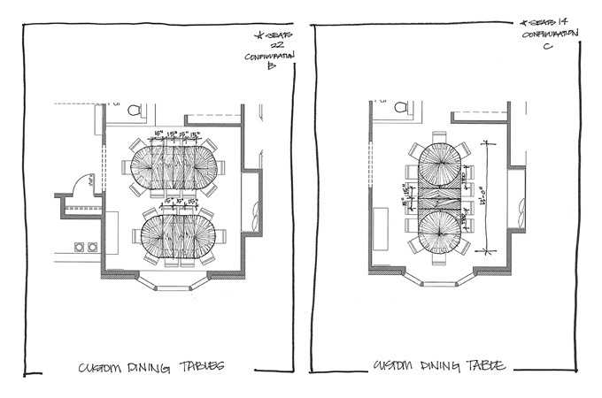 Custom Dakota Jackson Dining Table Sketches