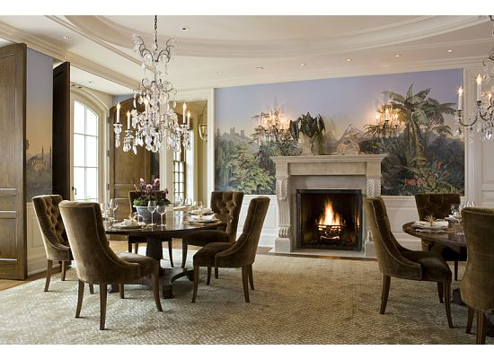 weston dining room with custom wallcovering