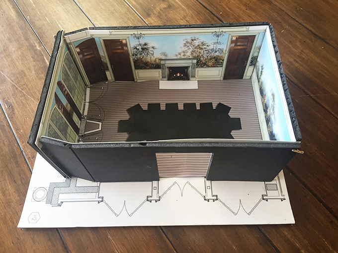 Model to show scale of custom wallcovering